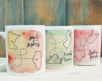 Long distance mug, Sisters forever mug, Best friends, Best friend gift, going away gift, state to state, Sisters mug, sister gift