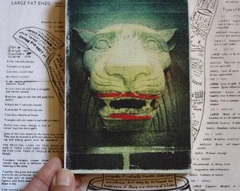 Lipstick, Lion, Statue, 4 x 6, Original, Mixed Media, Miniature, Art, Architecture