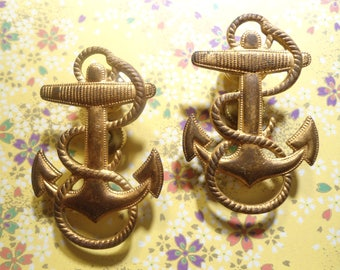 2 Vintage Brass Anchor Pins Brooches