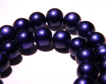 glossy glass Pearl - 8 mm purple heart - PG81 10 beads