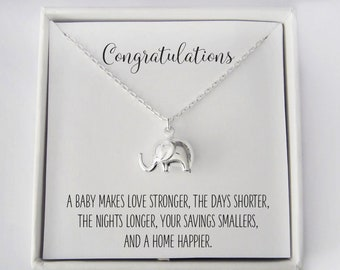 New Mom Gift - Baby Elephant Jewelry - Congratulations Gift - New Mother Necklace - Push Present - 925 Sterling Silver Elephant Necklace