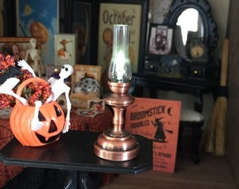 SALE Miniature Copper Hurricane Lamp, Working LED Lamp With Battery, Dollhouse Miniature, 1:12 Scale, Dollhouse Lamp, Mini Lamp, Lantern
