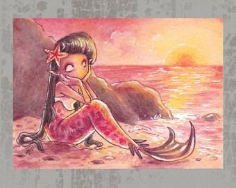 MerMay 2018 Card 16 - Original ACEO, watercolor painting