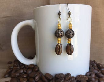 Coffee Earrings...Golden Glow...Authentic Fair Trade Coffee Bean Earrings .. FREE SHIPPING