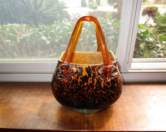 Heavy Leopard/Cheetah/Tortoise Shell Glass Purse Vase
