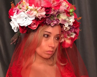 MORGANA   Fantasy Head Piece Floral Crown Boho Tropical Hibiscus