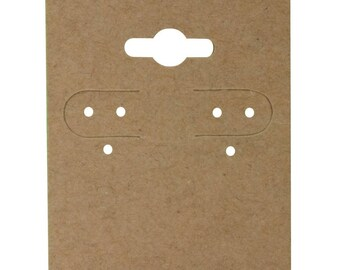 "Kraft Brown Hanging Earring Cards 2""H x 1 1/2""W Jewelry Display with Lip Choose 100 500 or 1000 Earring Cards"