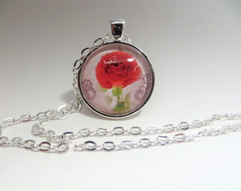 Red single  rose, Pendant, Necklace, silver tone, 24 inch rolo chain, gift for her