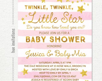 twinkle twinkle little star baby shower invitation girl, girl baby shower invitation, pink stripes gold glitter stars, printable file