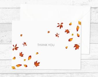 Hübsche Herbstblatt danken Ihnen Karten X10 - danke Postkarten - fallen danke Karten - Hochzeit-Dankeschön-Karten - saisonale Dankeschön-Set