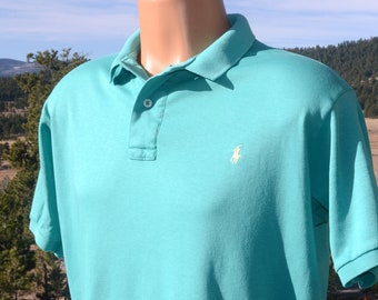 vintage 80s golf shirt POLO teal green soft cotton XL Large made in USA tennis tails