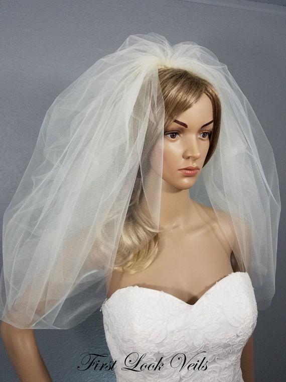 Ivory Wedding Veil, Shoulder Length Veil, Full Viel, Two-Layer Pickup Veil, Drop Crystals Bling and Blusher Veil, Wedding Vail, Bridal