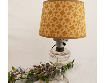 Vintage Lamp Glass Hurricane Wired with Shade