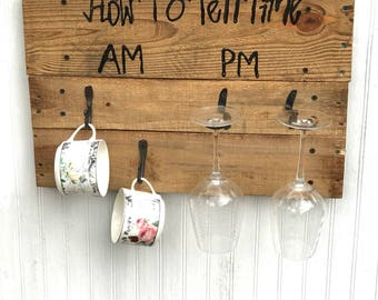 Am/Pm how to tell time coffee/wine rack