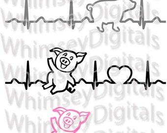 Pig Heartbeat, Swine Heart beat, EKG, Little Piggy Farm Digital Download SVG Cut File, Digital Cutter Tshirt Design for htv, vinyl, PNG file