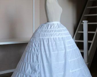 1860 Elliptical Crinoline + Pad, for white Victorian dress with metal splints