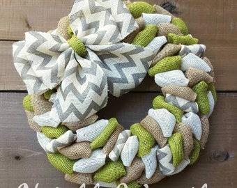 summer wreath, everyday wreath, front door wreath, Gray chevron wreath, shabby chic wreath, green wreath
