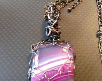 Pink banded agate stone pendant necklace wire wrapped in copper