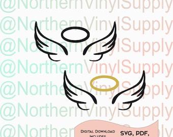 Angel Wings SVG - Angel Wings Cut File - Halo Cut File - SVG Cutting File - Cartoon angel  - Angel Cutting File - Angel SVG - Halo svg