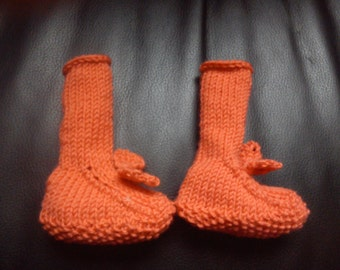 KNITTING PATTERN Baby booties with bow, booties knitting pattern, baby knitting pattern, baby knits, baby shoes knitting, knit baby boots