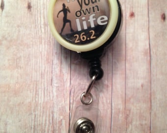 Marathon themed badge reel -- show your love of running while wearing your ID -- also available for half marathons