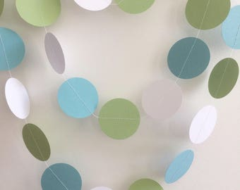 Blue and Green Garland, Blue and Green Circle Garland, Blue and Green Party Decorations,