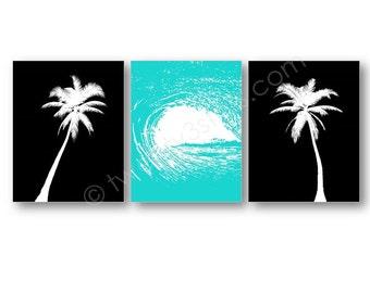 Ocean Wave and Palm Trees Posters, Ocean Canvas Art, Beach Surfer Art, Modern Ocean Art, Beach Wall Art, Beach Nursery Art, Palm Tree Canvas