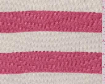 Cream/Bright Coral Stripe Sweater Knit, Fabric By The Yard