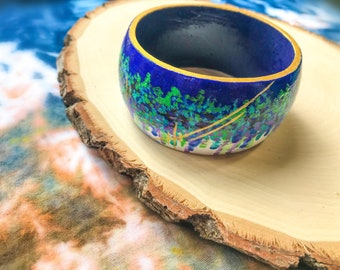 Abstract Hand Painted Bangle - Blue & Gold