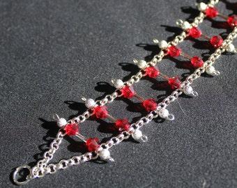 Silver Ladder Blood Stone Bracelet