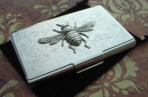 Silver bee business card case vintage inspired steampunk reheart Image collections