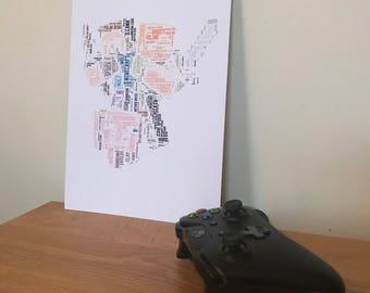 Minecraft, Typography Word Art A4 Print