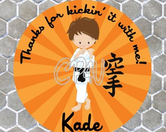 Karate Boy Brown Hair Favor Tags