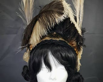 Burlesque headpiece in black/bronze with feathers ready to ship
