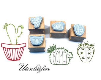Stamp flowerpot and 3 cactus, rubber stamp 20 mm