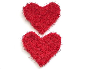 Dish Scrubby, Dish Scrubbies, Red Crochet Scrubbies, Hearts, Pot Scrubber, Eco Friendly Kitchen Scrubby, Set  of 2, Mothers Day