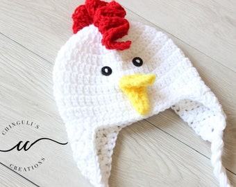 Crochet Rooster Hat Baby White Rooster Hat