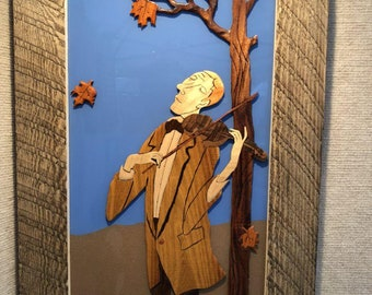 Violinist, 3D hand made Plywood, Painting, Room Decor, hand Scroll saw