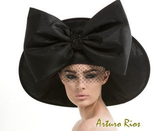 Black Couture Hat, Avant garde hat, Fashion hat, black hat with bow, Derby hat, Dressy Hat