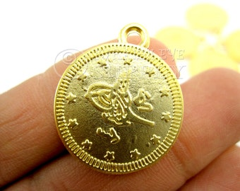 5 pc Coin Charms, Coin Pendants, Ottoman Coin Replica Charms, Turkish Coin, Turkish  22K Gold Plated, Coin Findings, Turkish Jewelry
