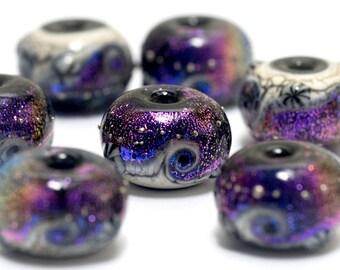 Amethyst Jewel Celestial Rondelle Beads - 10706301 Handmade Glass Lampwork Bead Set