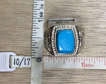Vintage 925 Sterling Silver 6.8g Ring Size 11 Turquoise Stone Used