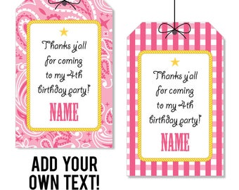 EDITABLE INSTANT DOWNLOAD Pink Country Western Party Favor Tags - Cowgirl Party Favor Tags - Editable, printable birthday party favor tags