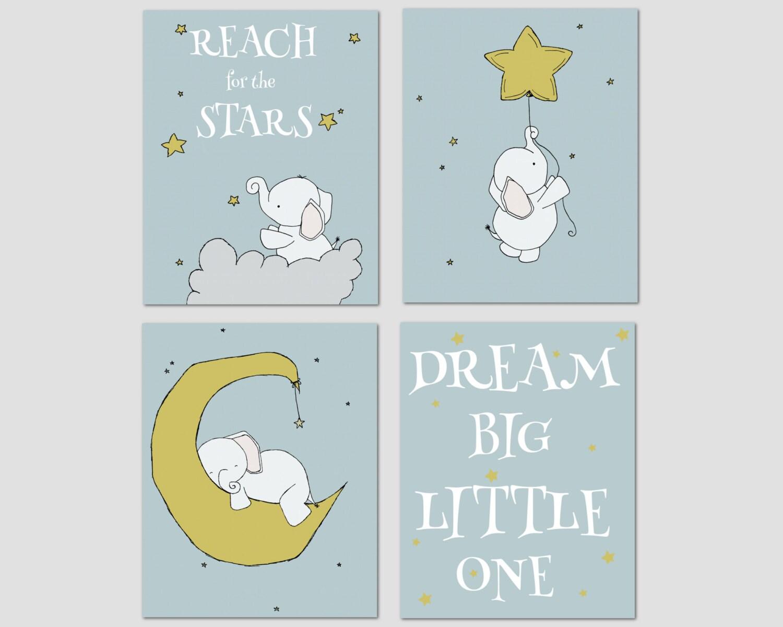 elephant nursery art dream big little one nursery decor. Black Bedroom Furniture Sets. Home Design Ideas