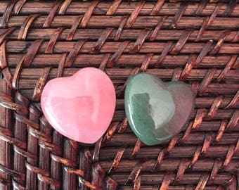 Rose Quartz Crystal Heart Set for Love, Crystal Healing, Rose Quartz and Aventurine Hearts