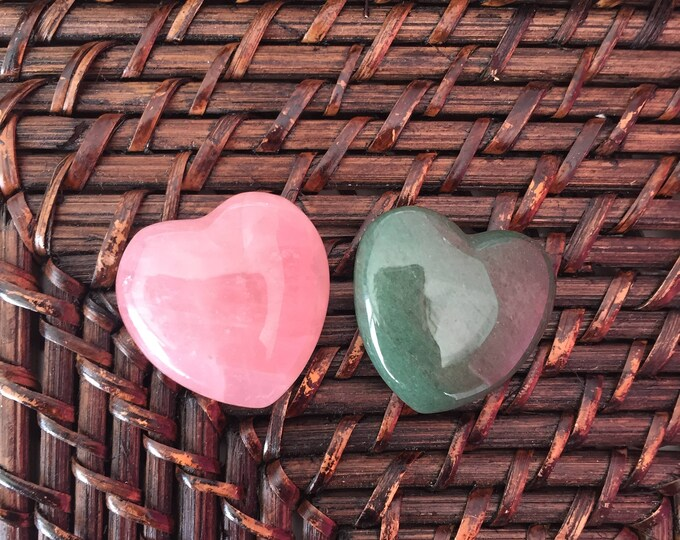 Rose Quartz Crystal Heart Set for Love, Crystal Healing, Rose Quartz and Aventurine Hearts