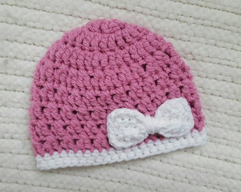 Baby girl hat, crochet baby hat, baby hat with bow, baby girl gift, baby gifts for girls, pink newborn hat, 0-3 month baby gift, baby shower