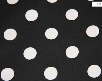 Large Black and White Polka Dot Cotton Fabric Quilting sewing crafts Clothing Cotton Fabric Cotton fabric by the yard - SHIPS FAST C70