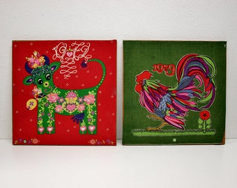 2 wall Pictures for the children's room 70s vintage cow Rooster