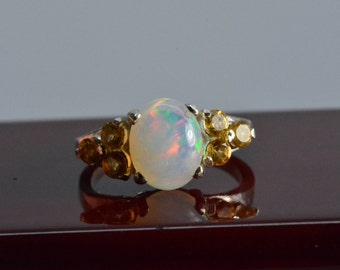 Opal ring - sterling silver,october birthstone,gift,Welo Opal,Opal Jewelry,opal,gemstone ring,birthstone ring,Mothers day gift,citrine